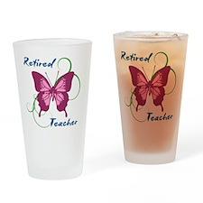 Retired Teacher (Butterfly) Drinking Glass