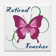 Retired Teacher (Butterfly) Tile Coaster