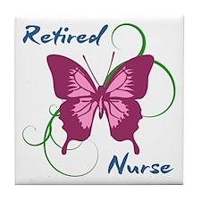 Retired Nurse (Butterfly) Tile Coaster