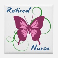 Retired Nurse (Butterfly) Tile Coaster