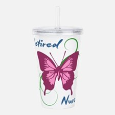 Retired Nurse (Butterf Acrylic Double-wall Tumbler