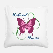 Retired Nurse (Butterfly) Square Canvas Pillow