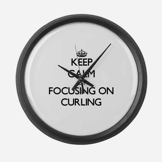 Keep Calm by focusing on Curling Large Wall Clock
