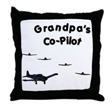 Grandpa's Co-Pilot Throw Pillow