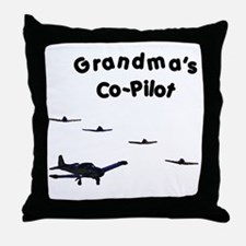 Grandma's Co-Pilot Throw Pillow