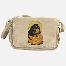 Black Cat and Pumpkin Messenger Bag