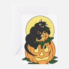 Black Cat and Pumpkin Greeting Cards