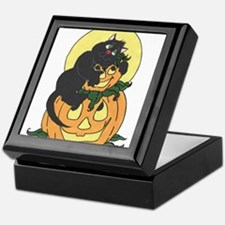 Black Cat and Pumpkin Keepsake Box