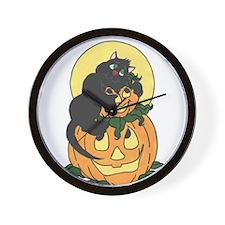 Black Cat and Pumpkin Wall Clock