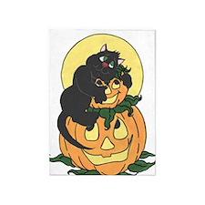 Black Cat and Pumpkin 5'x7'Area Rug