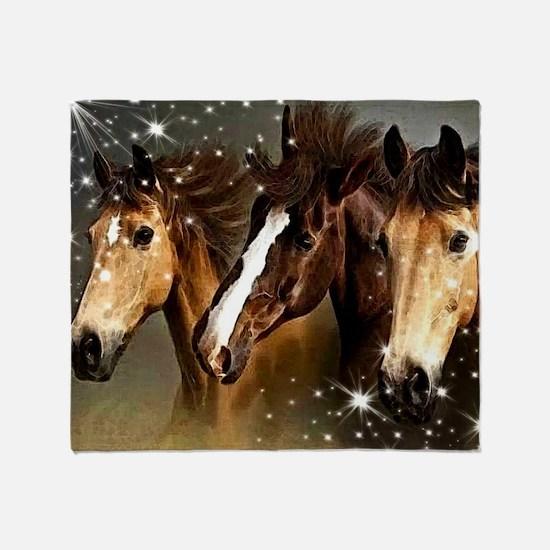 Sky Horses Throw Blanket