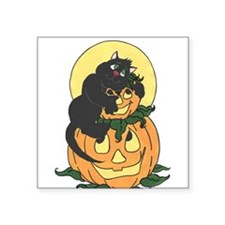Black Cat and Pumpkin Sticker