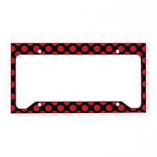 Red Polka Dots License Plate Holder