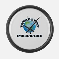 World's Best Embroiderer Large Wall Clock