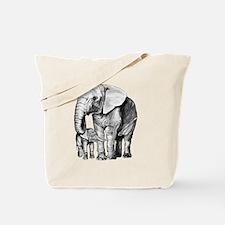 Drawn Elephant Tote Bag