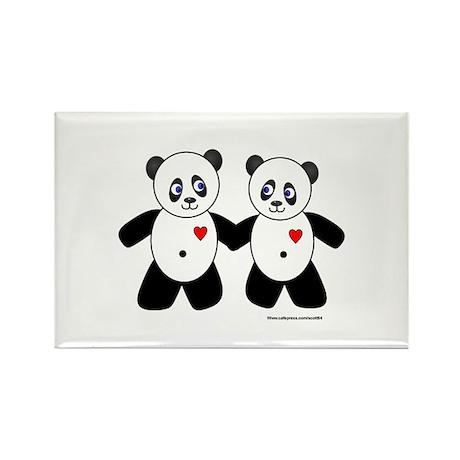 Panda Couple Rectangle Magnet (100 pack)