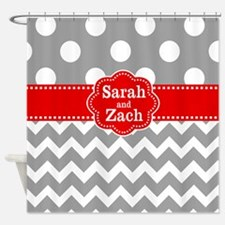 Gray Red Dots Chevron Personalized Shower Curtain