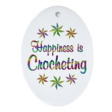 Happiness is Crocheting Ornament (Oval)