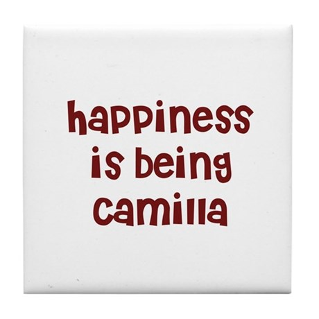 happiness is being Camilla Tile Coaster