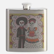 Funny Mexican sugar skulls Flask