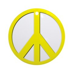 Yellow Peace Sign Ornament (Round)