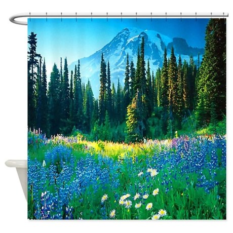 scenic mountain shower curtain
