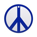 Blue Peace Sign Ornament (Round)