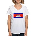 Cambodiablank.jpg Women's V-Neck T-Shirt