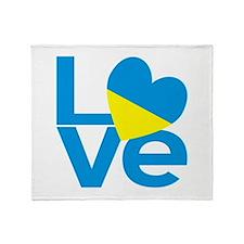 Blue Ukrainian LOVE Throw Blanket