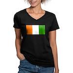 IvoryCoastblank.jpg Women's V-Neck Dark T-Shirt