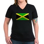 Jamaicablank.jpg Women's V-Neck Dark T-Shirt