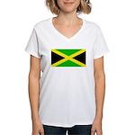 Jamaicablank.jpg Women's V-Neck T-Shirt