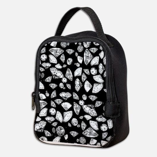 3D diamonds on black Neoprene Lunch Bag