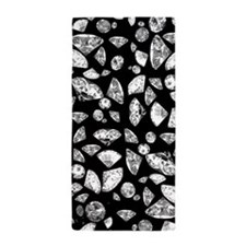 3D diamonds on black Beach Towel