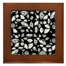 3D diamonds on black Framed Tile