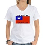 Taiwanblack.png Women's V-Neck T-Shirt