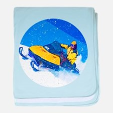 Yellow Snowmobile in Blizzard baby blanket
