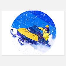 Yellow Snowmobile in Blizzard Invitations