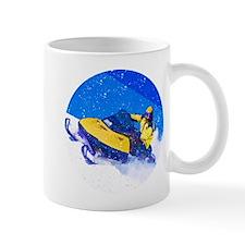 Yellow Snowmobile in Blizzard Mugs