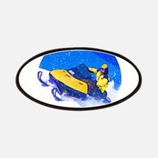 Yellow Snowmobile in Blizzard Patches