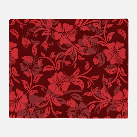 Red Floral- Throw Blanket