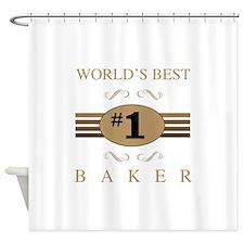 World's Best Baker Shower Curtain