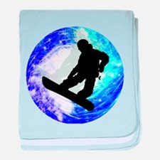 Snowboarder in Whiteout baby blanket