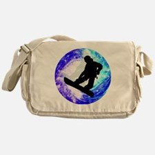 Snowboarder in Whiteout Messenger Bag