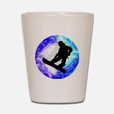 Snowboarder in Whiteout Shot Glass