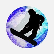 Snowboarder in Whiteout Ornament (Round)