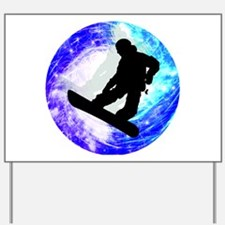 Snowboarder in Whiteout Yard Sign