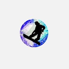 Snowboarder in Whiteout Mini Button