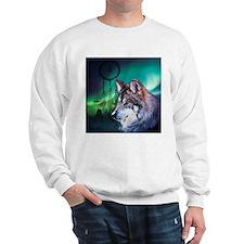 native dream catcher wolf northern ligh Sweatshirt