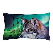 native dream catcher wolf northern lig Pillow Case